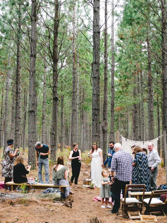 A forest wedding with a small group of family and friends