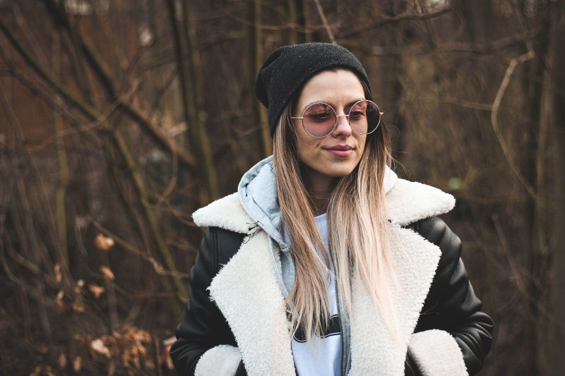 Girl wearing a jacket and a hoodie, winter fashion