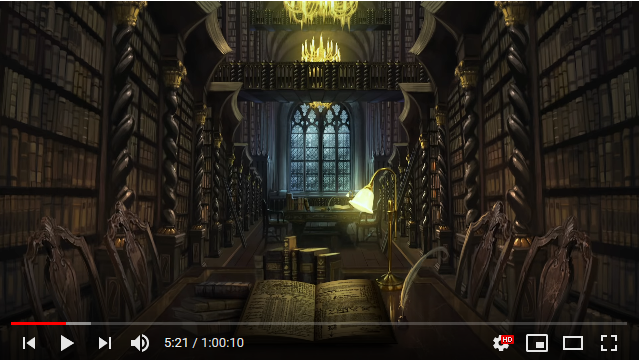 "SCREENCAP OF ""HARRY POTTER INSPIRED ASMR - HOGWARTS LIBRARY REMAKE  - ANIMATED AMBIENT SOUNDSCAPE CINEMAGRAPH"" ON YOUTUBE BY ASMR ROOMS"