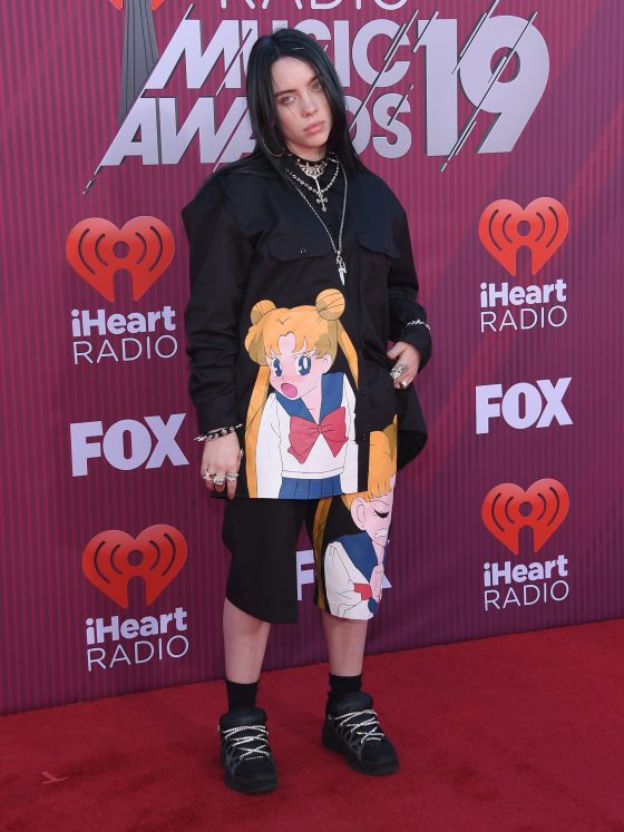 Billie Eilish arrives for the iHeart Radio Music Awards 2019 on March 14, 2019 in Los Angeles, CA