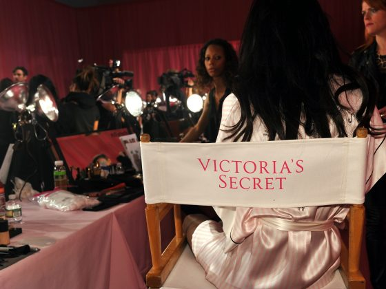 NEW YORK NY - NOVEMBER 13: A view of atmosphere and make-up kits chair backstage at the 2013 Victoria's Secret Fashion Show hair and make-up room at Lexington Avenue Armory on November 13 2013 in New York City.