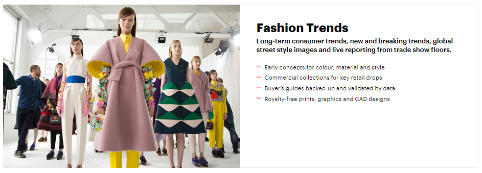 WGSN website page for fashion trend forecasting