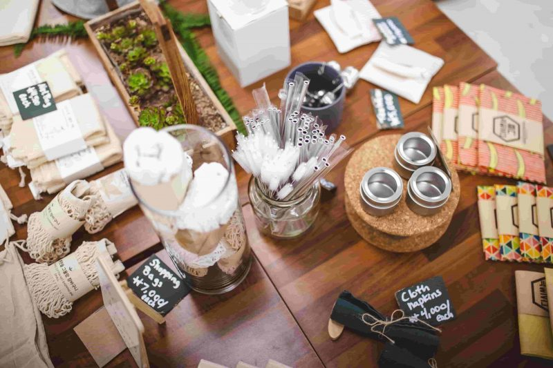 A table filled with an assortment of zero waste essentials.