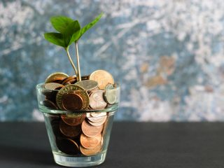 Glass filled with coins and a small plant growing out of it